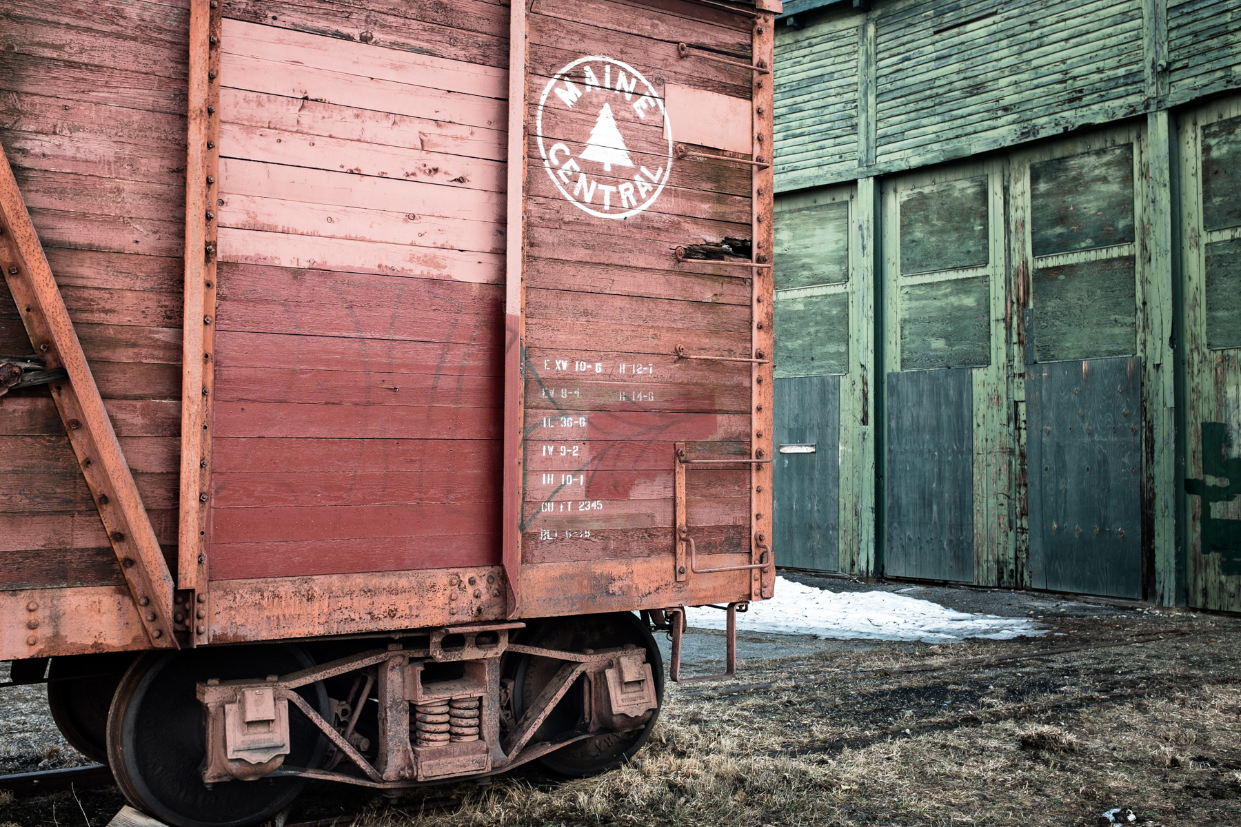 An old boxcar and maintenance shed in Bartlett, NH