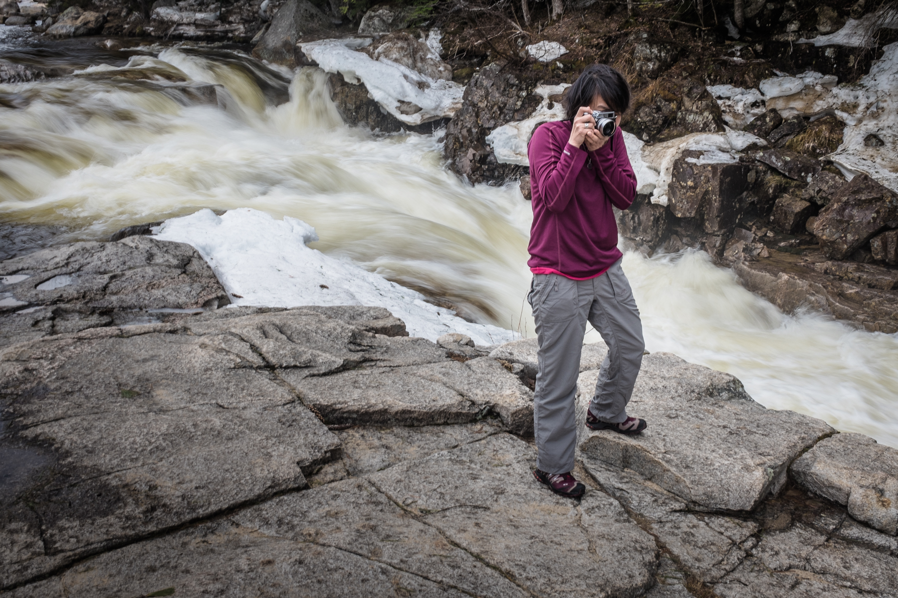 Built in Neutral density is a nifty feature when you need to slow down the shutter in  normal light (Rocky Gorge in the White Mountains of New Hampshire). Jenny liked my camera so much she bought one of  her own. A silver one. It looks better in silver.