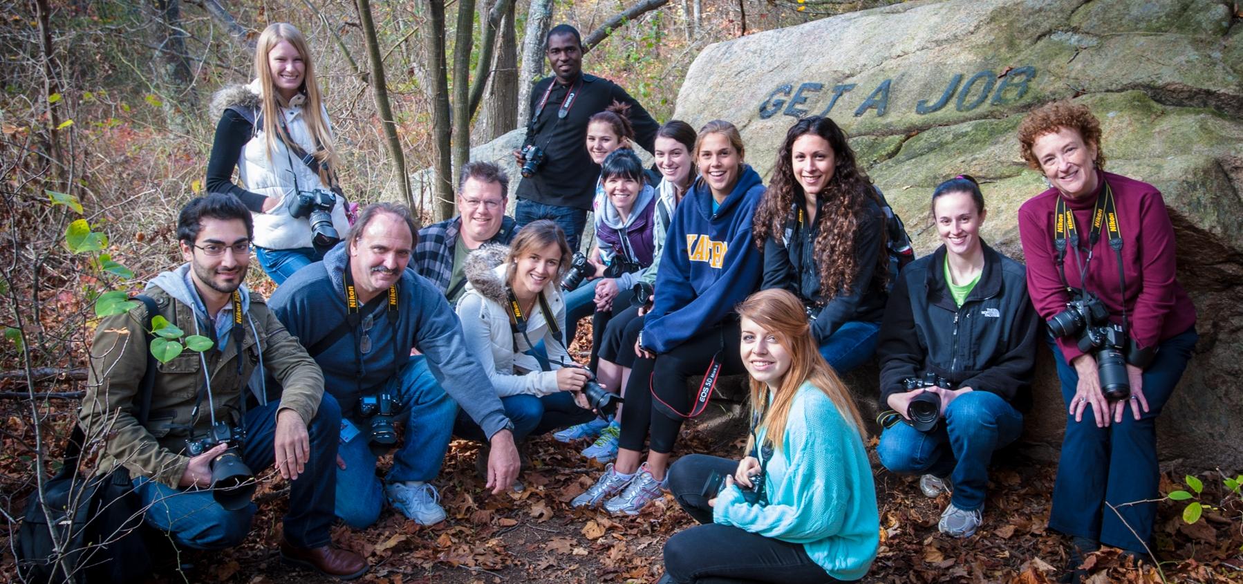 an impromptu class portrait taken on a field trip to photograph the Babson Rocks in Dogtown, near Gloucester, MA