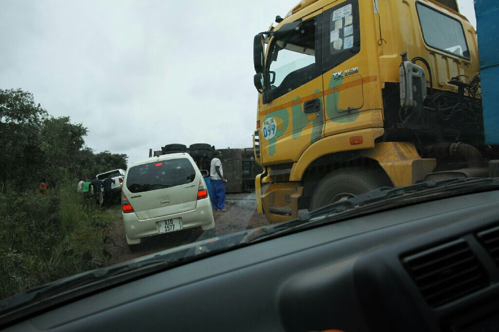 A petrol truck rolled and blocked the way to Mutinondo. Photo: K. Fleurial