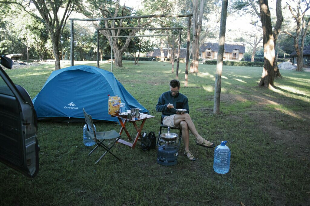 Our camp set up at Rivervalley Campsite. Photo: K. Fleurial
