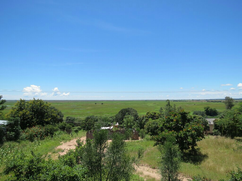 Looking out over the Zambezi floodplain from Mongu.