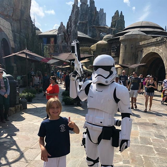 As expected, Duke loved every minute of the new Star Wars: Galaxy's Edge at @waltdisneyworld ✨ I mean...so cool, huh?!?! #galaxysedge #waltdisneyworld #florida