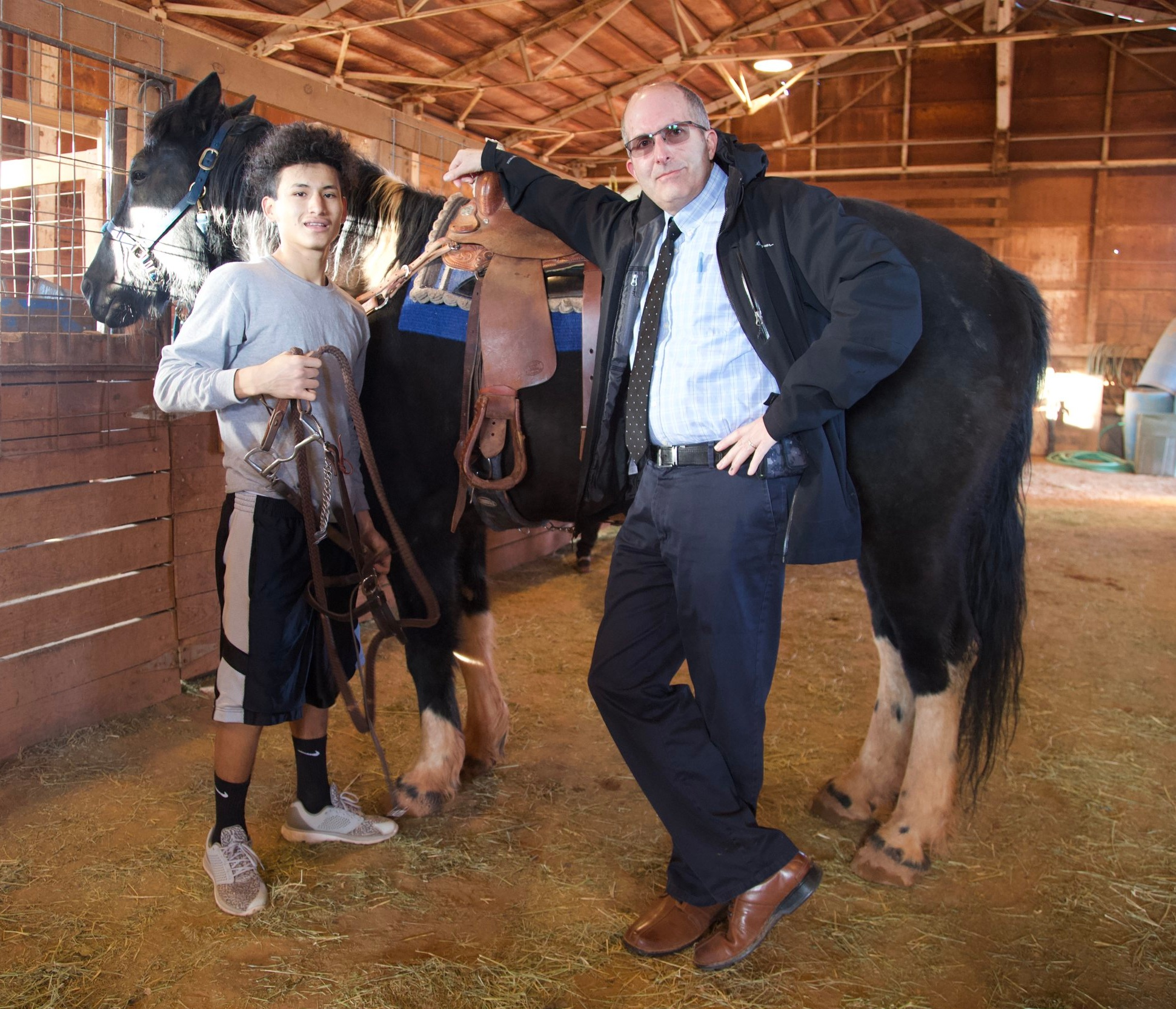 Mr. Ojeda visits Jorge, 11th-grade, at Horsemanship.