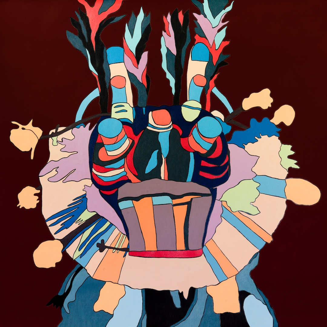 "Ungarwein  Acrylic on paper 30"" x 30 1/2"" 2014"