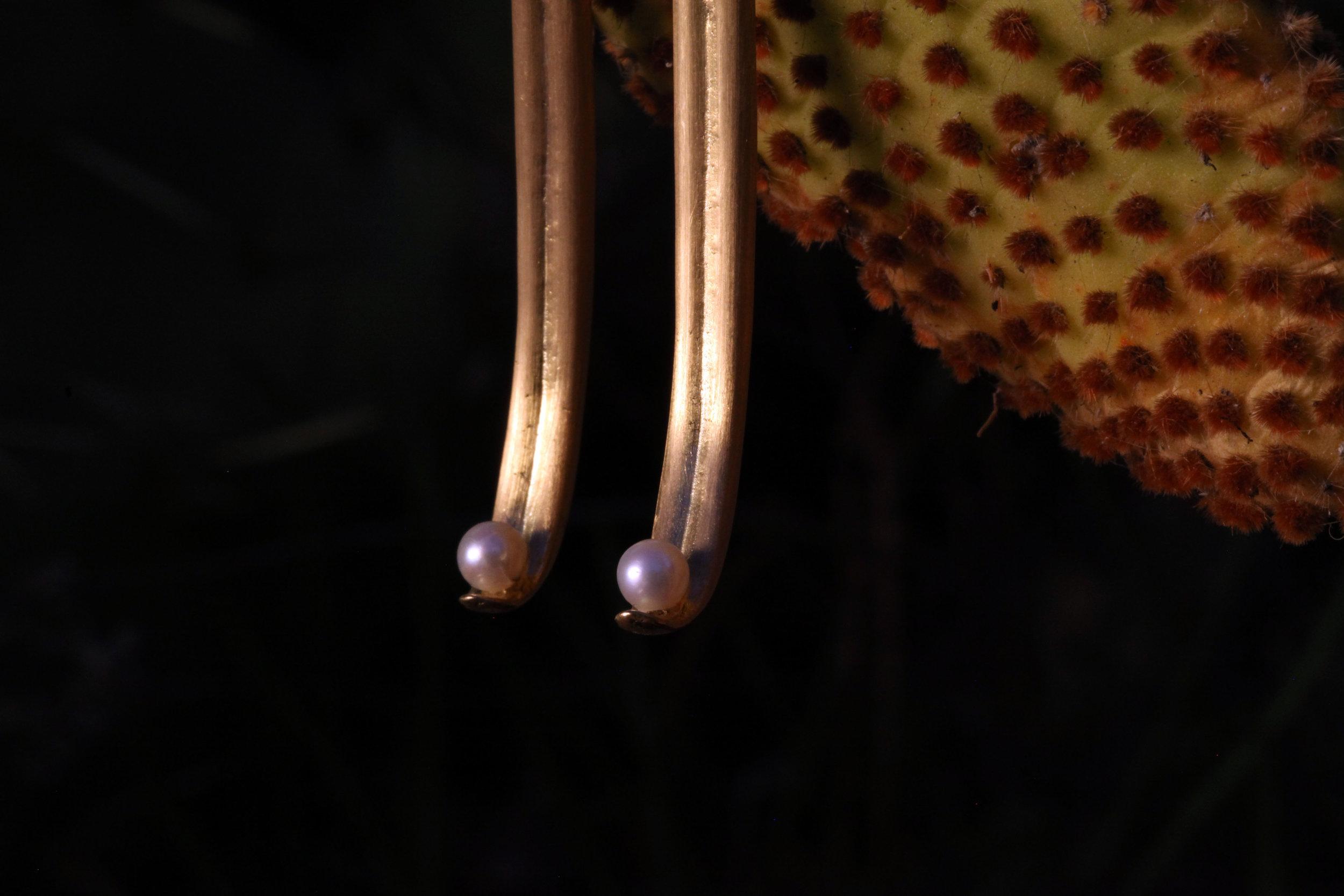 Grass, Or et perles, bijoux sculptés faits-main