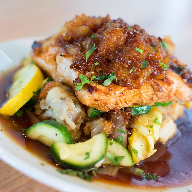 WEDNESDAY SPECIAL- 25% off ALL Boston's Specialty Items.  Surfside Salmon is what's for dinner. We marinated our delicious Salmon in a Teriyaki glaze and topped with crushed pineapple. Served on top of our home made mashed potatoes and sauteed vegetables.