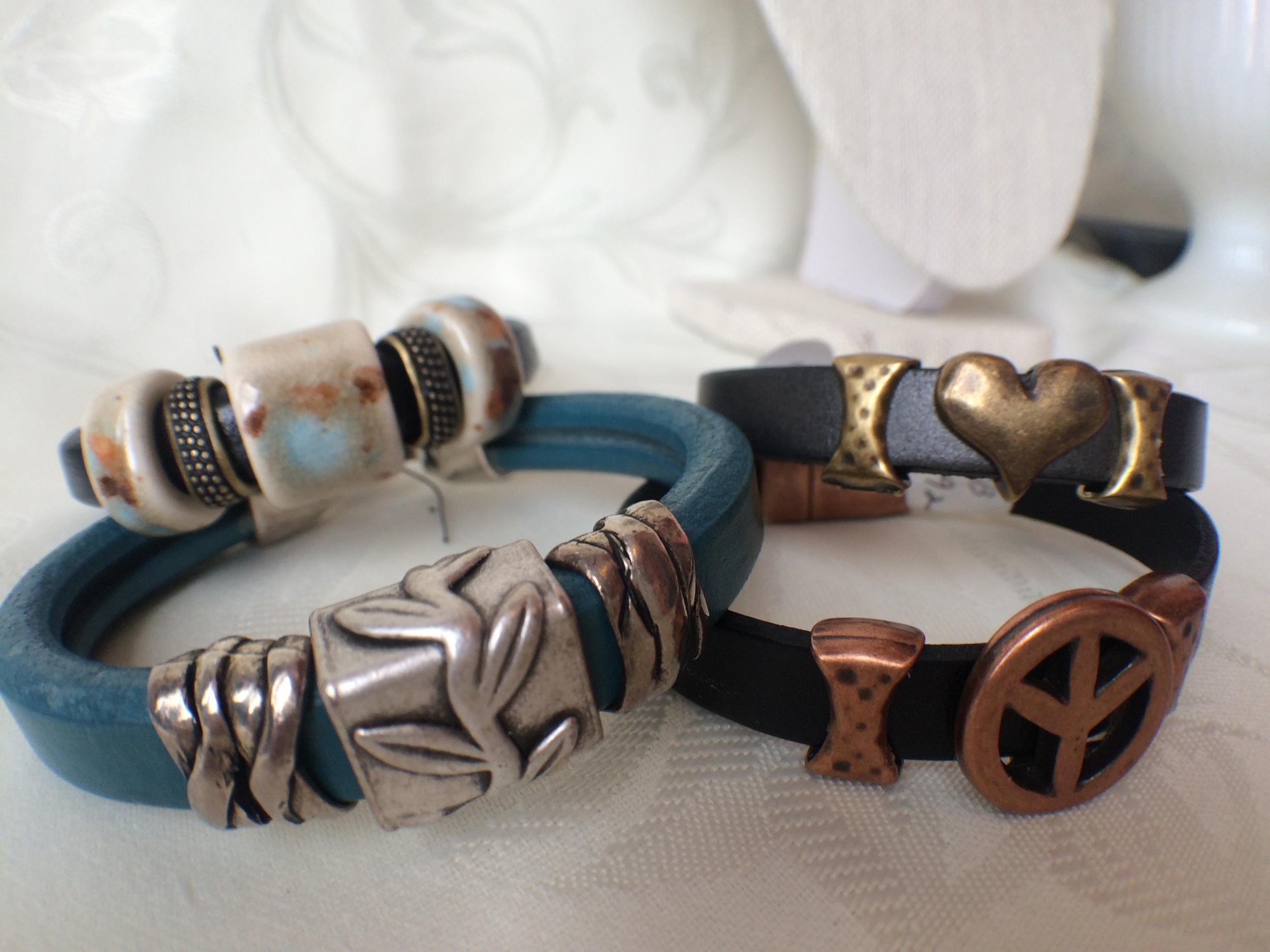 Leather and Regaliz Slider Bracelets