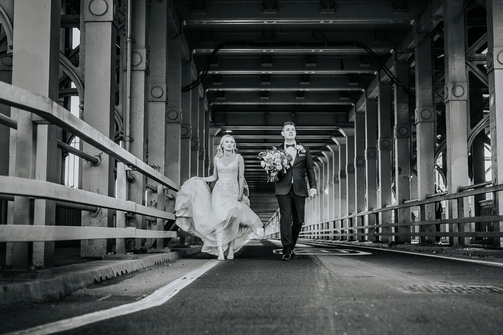 Amy & Marc - The Vermont Hotel - When a couple say that they're happy to venture onto a busy bridge in the middle of the city centre so we can get some epic shots (like the one on the left) you know it's going to be a good day!