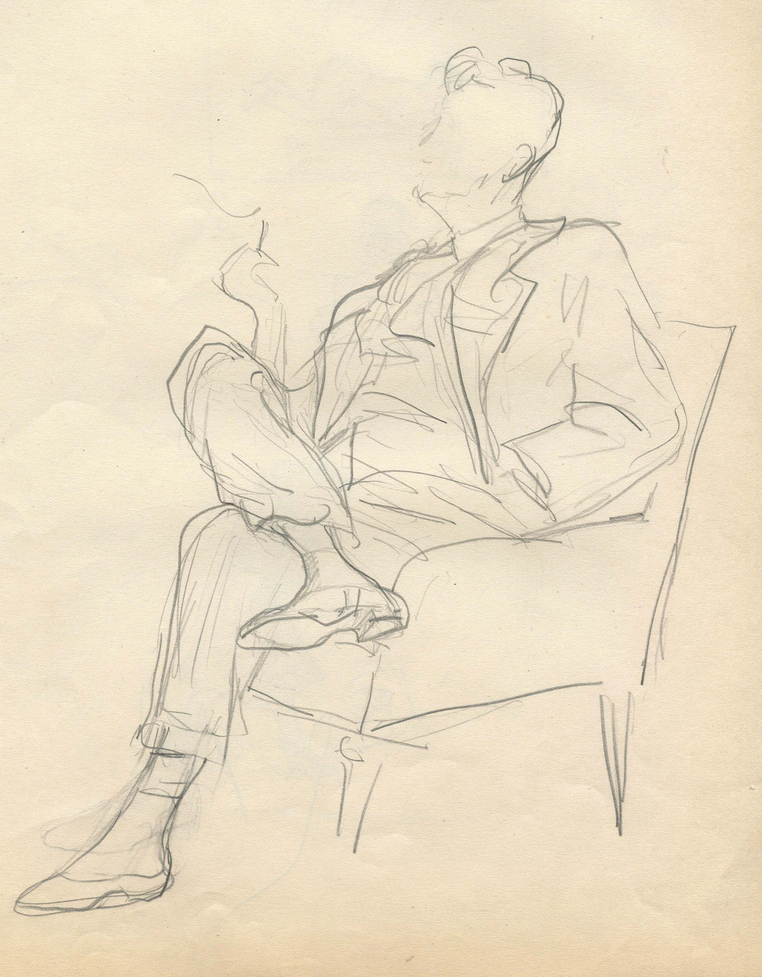 MSB, Leonard in his Element at the San Carlos Hotel; New York Cartoon Series, 1951.