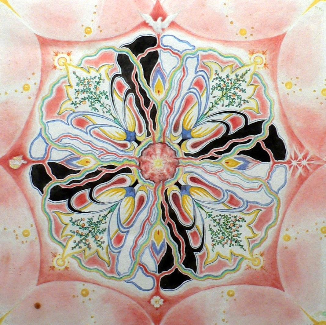 "Close-up of ""Rose Mandala"" center."