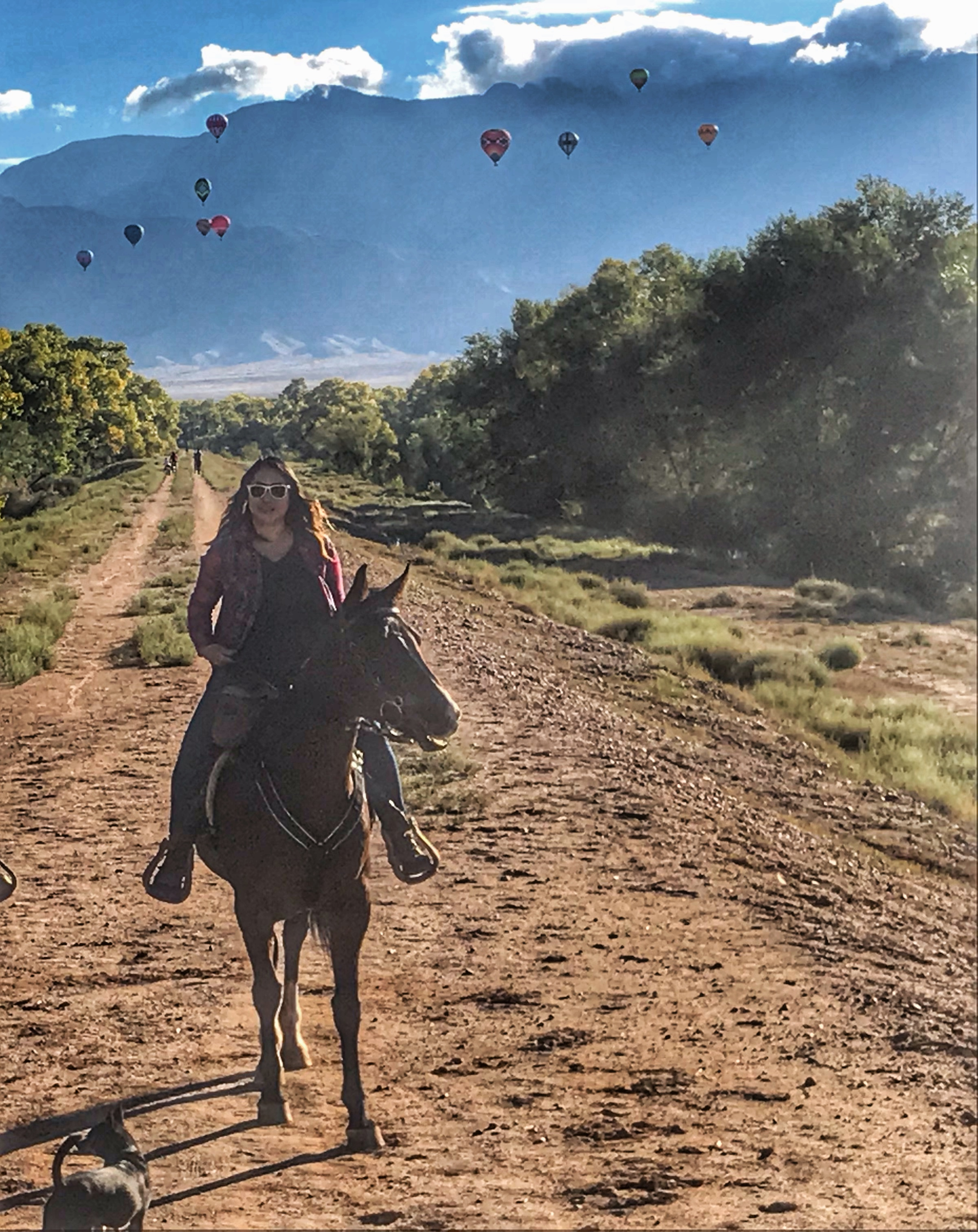 There are no words to describe seeing hundreds of balloons during the Albuquerque Balloon Fiesta on horseback! - - Jules