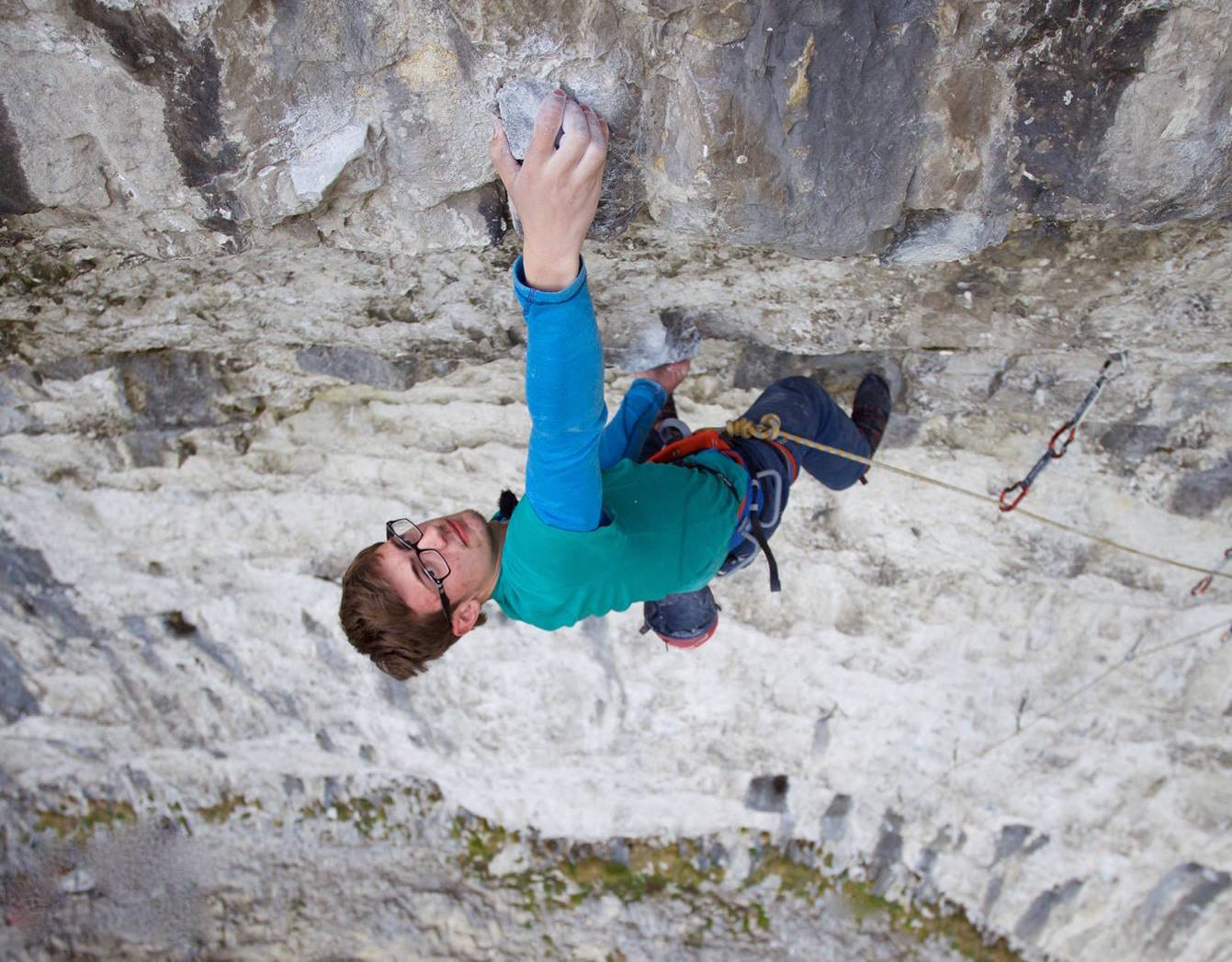 William Bosi topping out on Rainshadow 9a to become the youngest Brit to climb 9a.