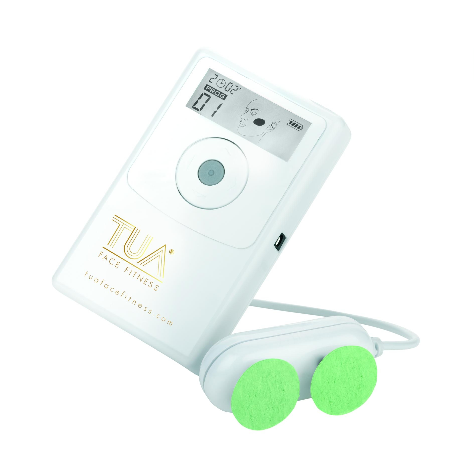 TUA Face FitnessSmart Facial Lifting & Toning Device - Using hydro electronic micro-current technology to stimulate muscle contractions causing your face and neck to lift and tighten. The only fitness device in the market introduces 5 level of pre-programmed exercise frequency to 5 different areas of the face according to muscles thickness and density for muscles stimulation optimization. One of many users favorites is its well thought out engineering design to not having to succumb to long term cost of cream or gel for conductivity as well as the disruption of reapplication to prep the skin moist during the treatment. Just plain tap water will do and you're good to go!A marvel and a smarter choice to exercise your way to a youthful face and neck and a luscious skin in no time.FREE SHIPPING