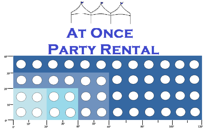"""Use this Tent Size Chart(using 60"""" round tables) to help you determine what Size Tent is best for your event. See additional helpful information below."""