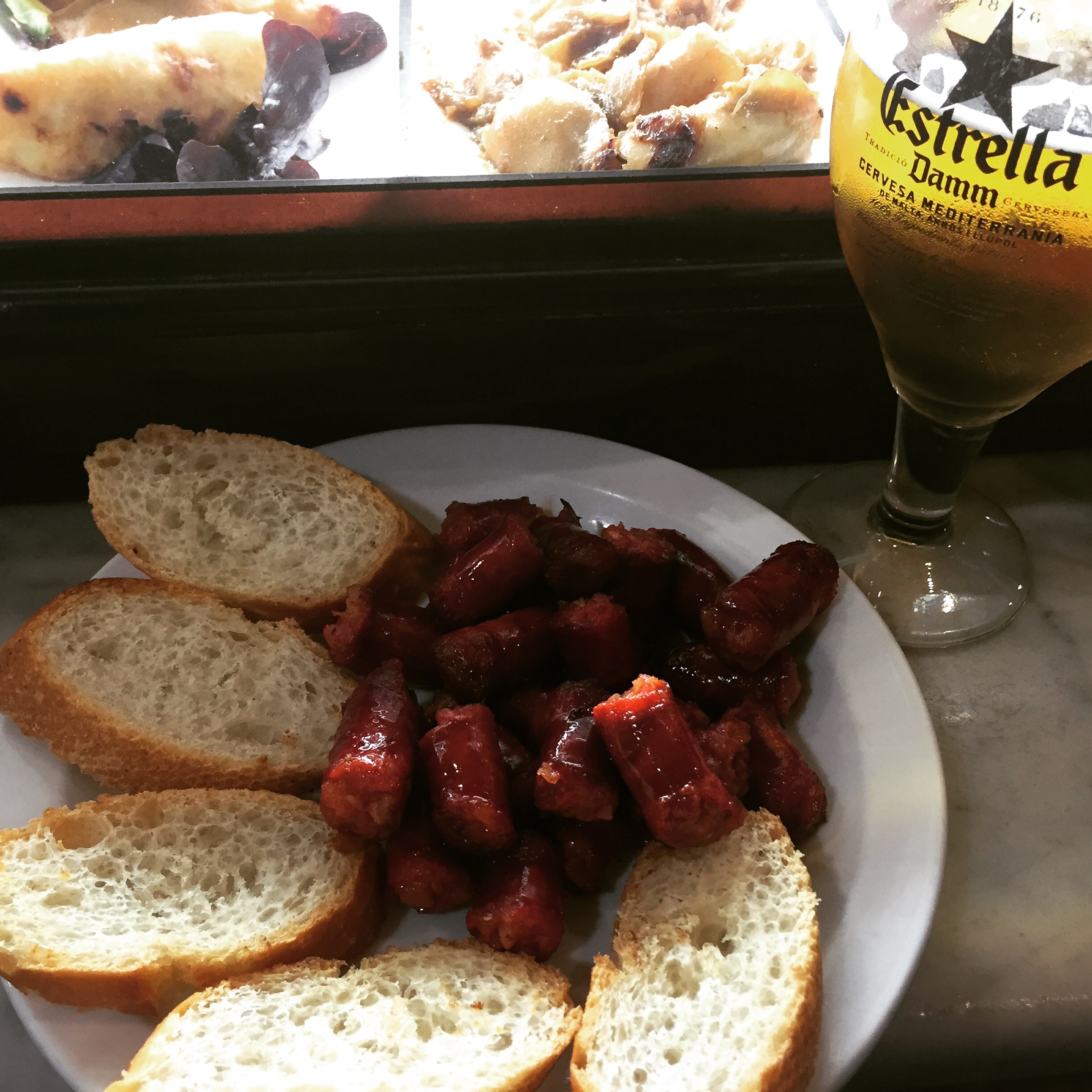 Chorizo tapas at #Fandango, a good place for some tapas right down the street from my apartment in Barcelona.