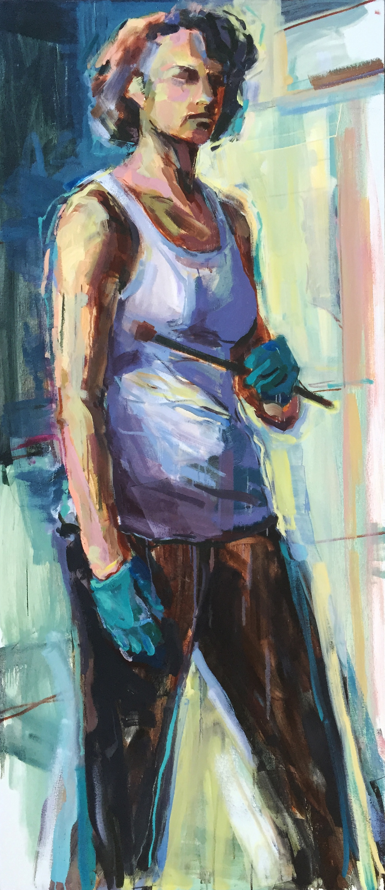 "Self Portrait with Gloves  2015 Oil on canvas 69"" x 30"""