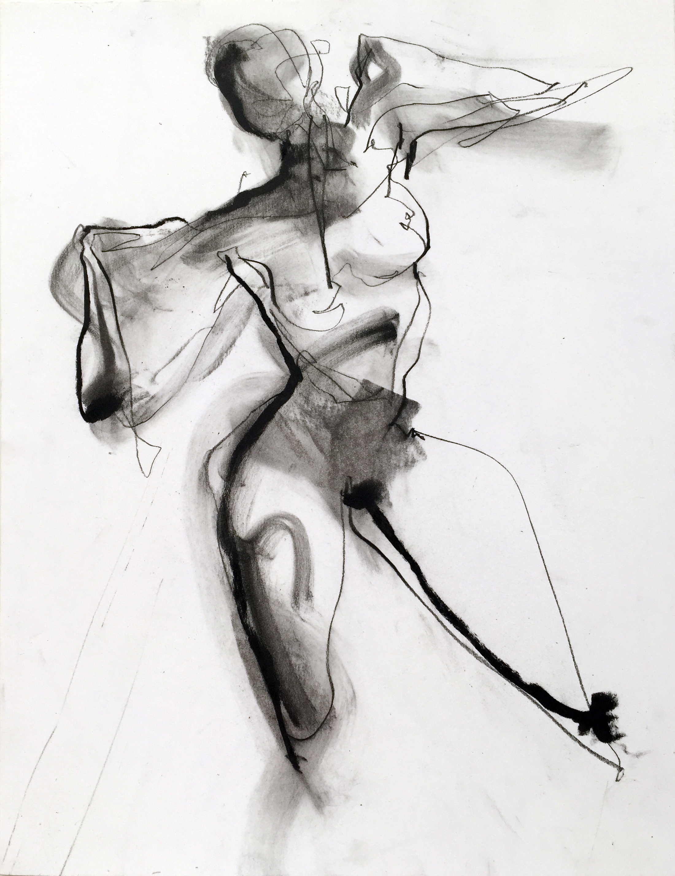 """Nude 13  2016 Charcoal on paper 12"""" x 9"""""""