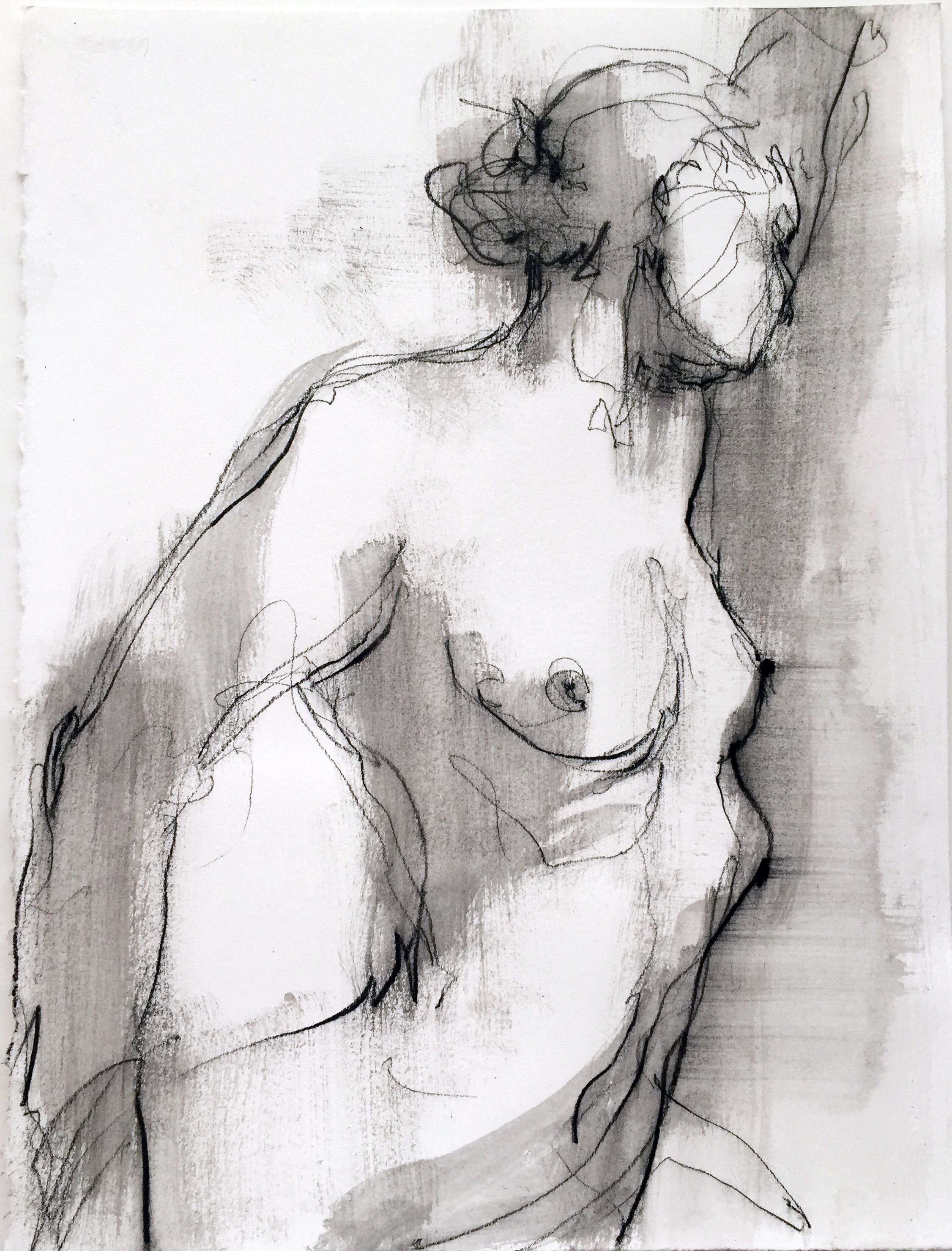 "Nude 16  2016 Watercrayon on paper 12"" x 9"""