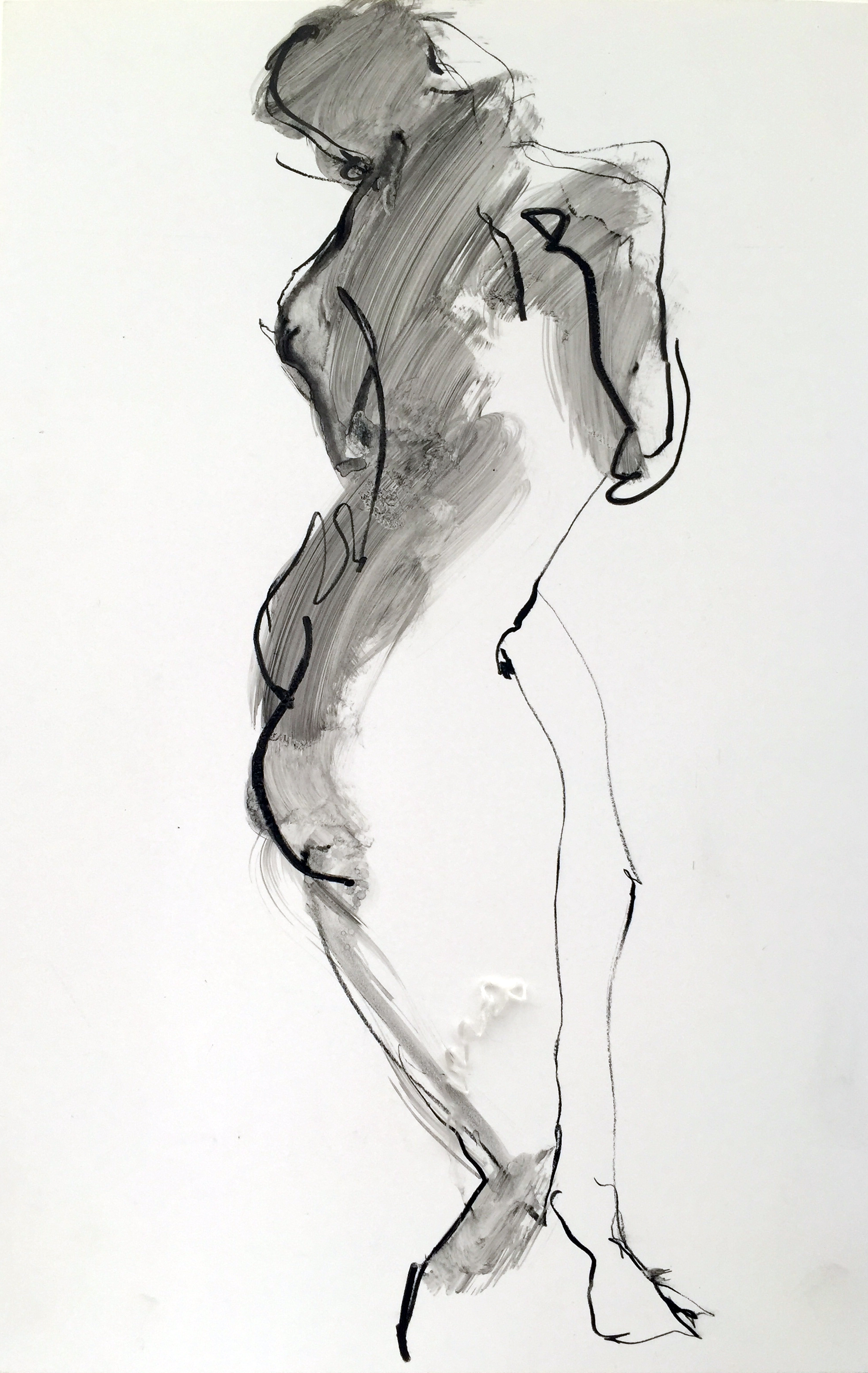 "Nude 23  2013 Watercrayon on paper 16"" x 11"""