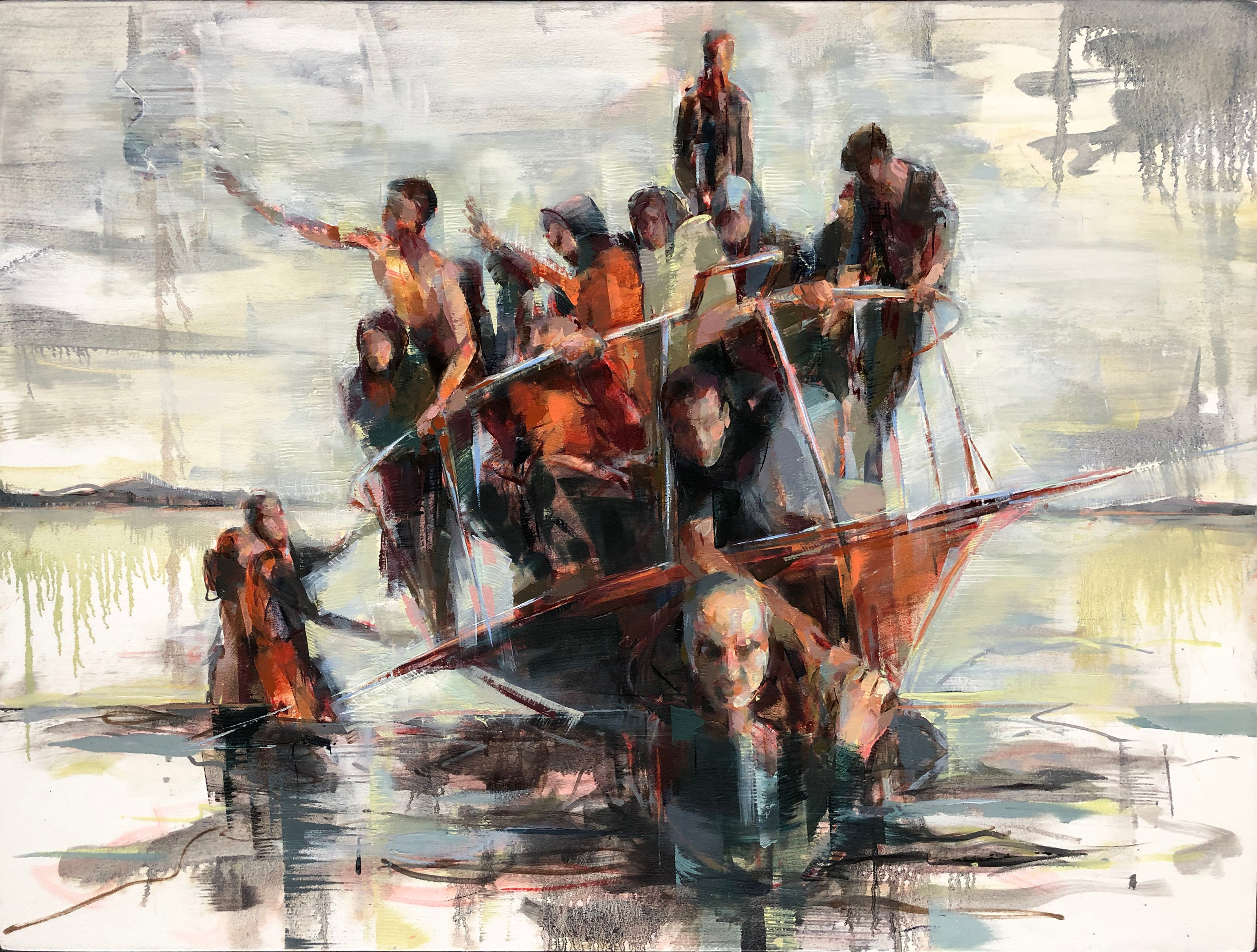"Arrival on Lesbos  2019 Oil on canvas 36"" x 48"""