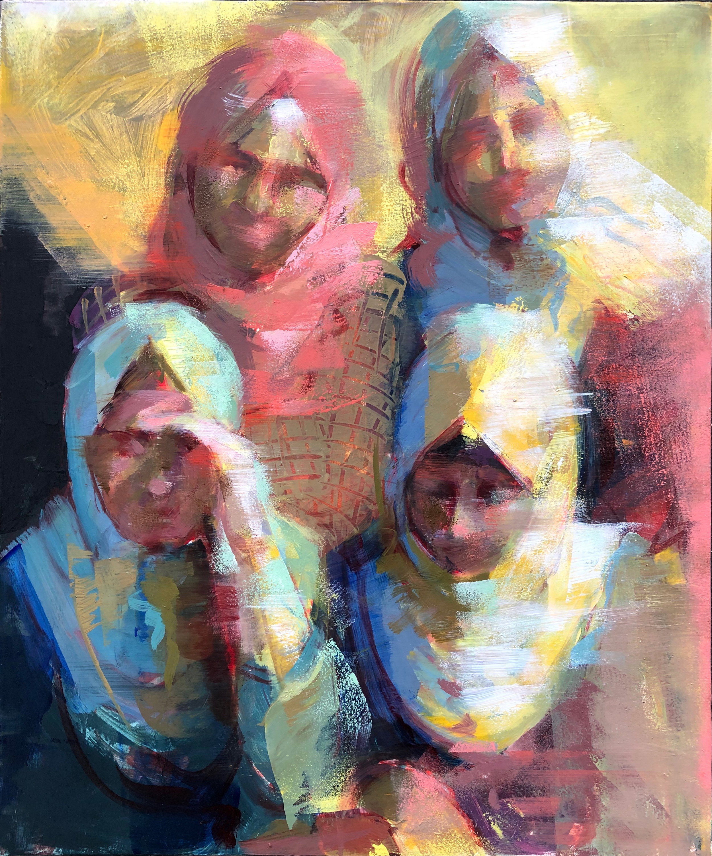 "Gaza Women 4  2019 Oil on canvas 22"" x 18"""