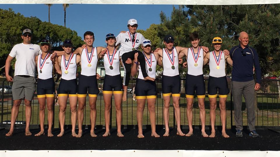 "Yeeessss!!! Crew Classic Champions- NAC Novice Boys 8x. Caleb 5 seat. In this photo fourth rower from the left- only Freshman 6'3"" 14 yrs old.  Proud mom  #rowermom  #mysonisthebeastinfiveseat   #dkfindshomes  #dkcowles   #nac4life   #newportaquaticceenter   #nac  #newportrowing  — feeling excited in  San Diego, California ."