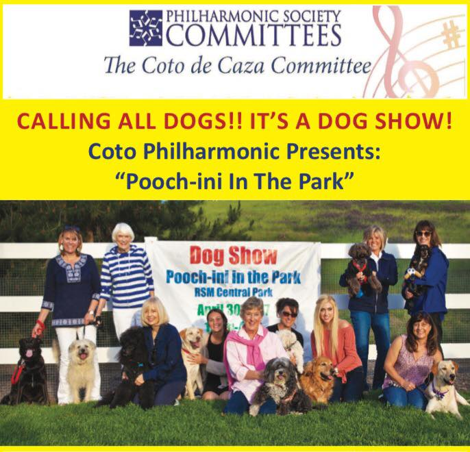 """We are proud to support our friends in the NAC community for this fun event that benefits Musical Education for Orange County Schools.  Don't miss out on """"Pooch-ini In The Park"""".  The Coto Committee is looking for dog contestants for 8 fun classes, including best groomed, best costume, and most talented! For more information and registration head to their website at  www.cotocommittee.org   EVENT DETAILS:  Sunday April 30th, 12-4:00pm  Rancho Santa Margarita Central Park"""