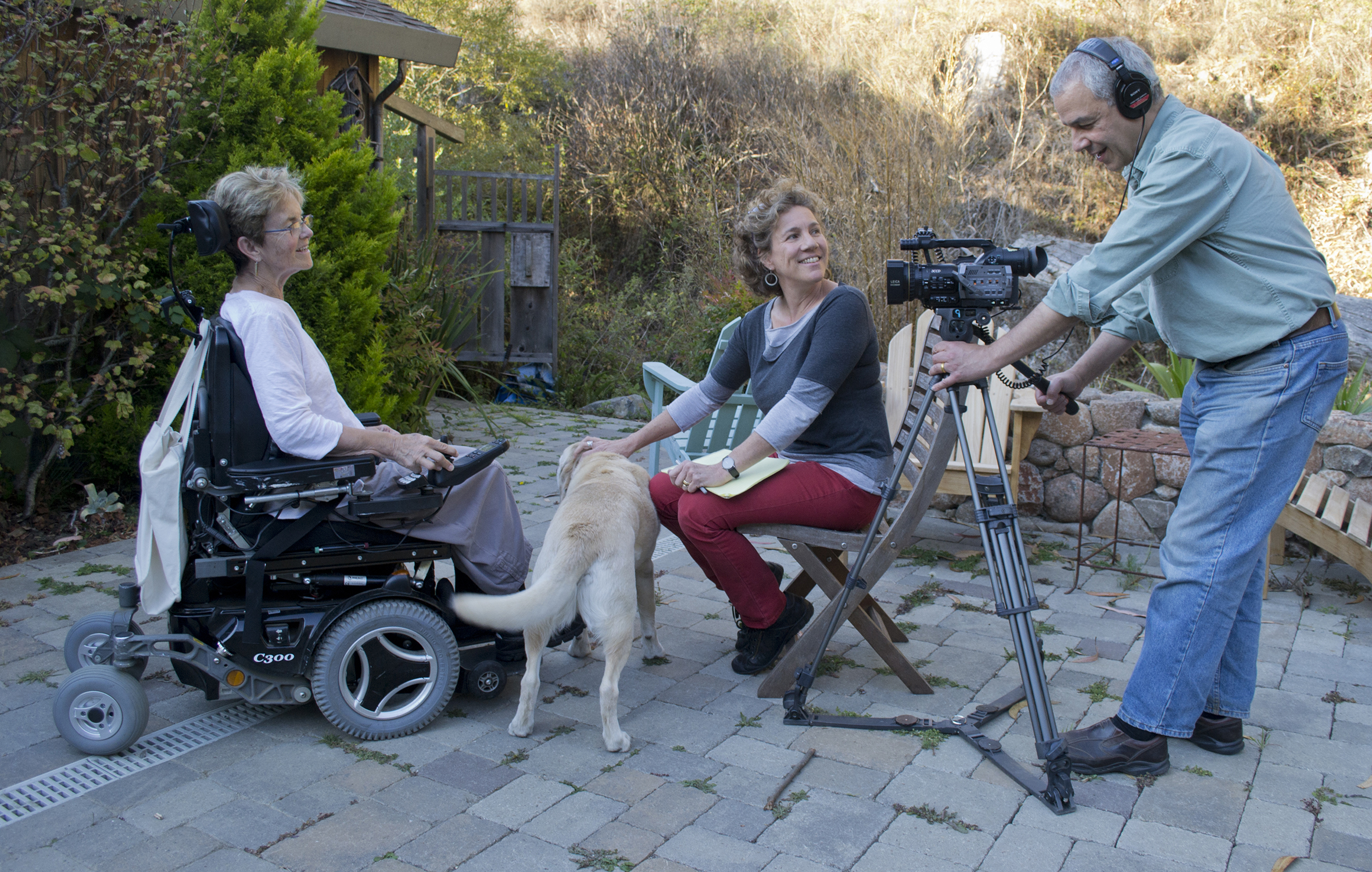 "Filmmakers Helen S. Cohen and Mark Lipman interview Dr. Grace Dammann on her patio at Green Gulch Farm Zen Center in Marin, California. Dammann sustained severe injuries in a near-fatal head-on collision on the Golden Gate Bridge. Her remarkable recovery is chronicled in the new feature-length documentary  States of Grace . Photo credit: Nancy ""Fu"" Schroeder"