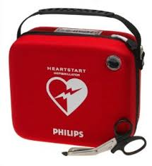 HeartStart iconic red case with biphasic waveform graphic