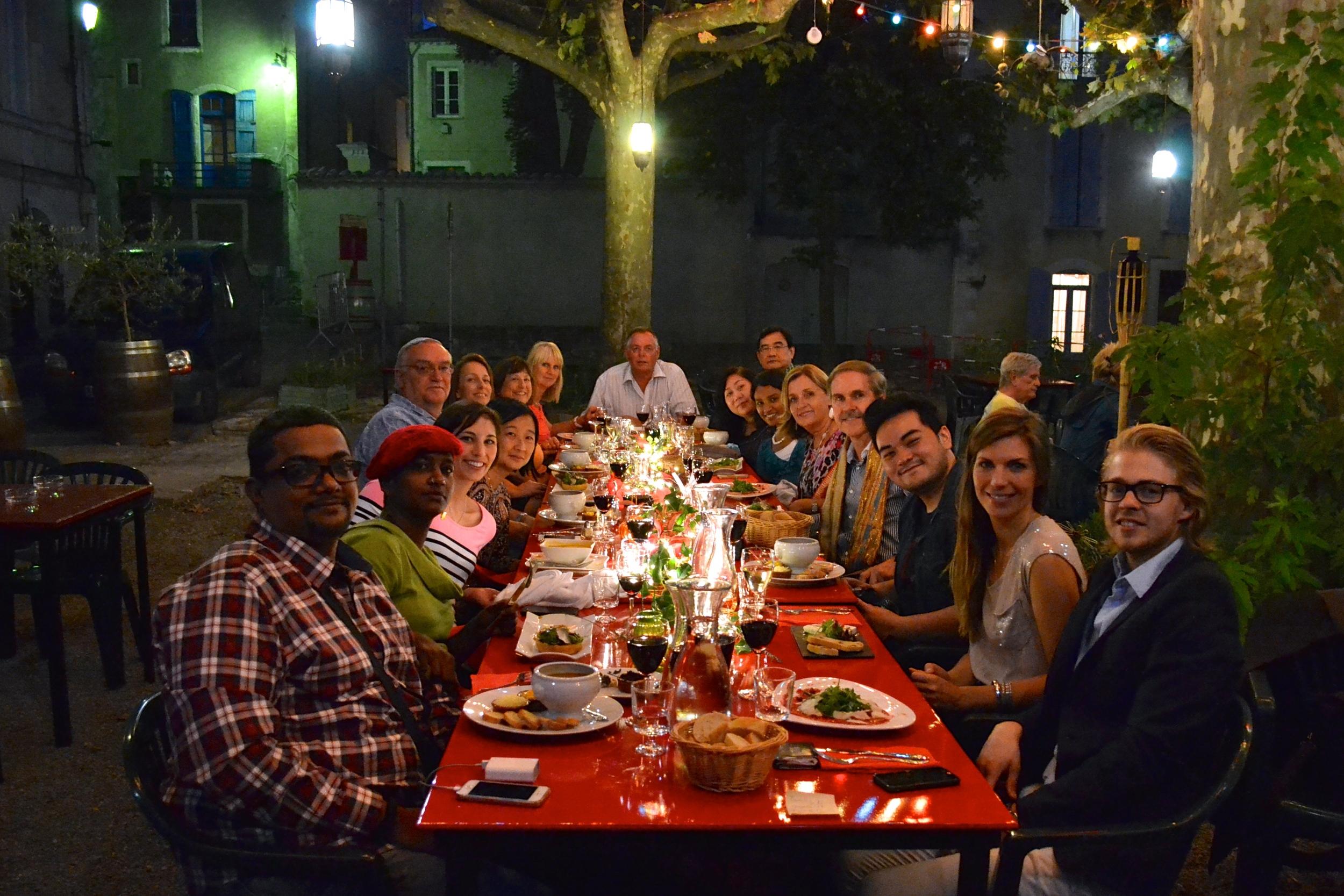 celebratory dinner in Sauve