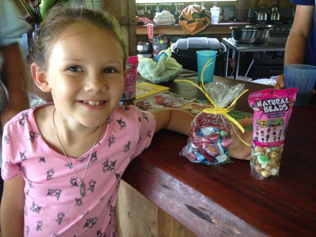Shirlene's daughter Bella enjoys Easter candy that was sent by friends.