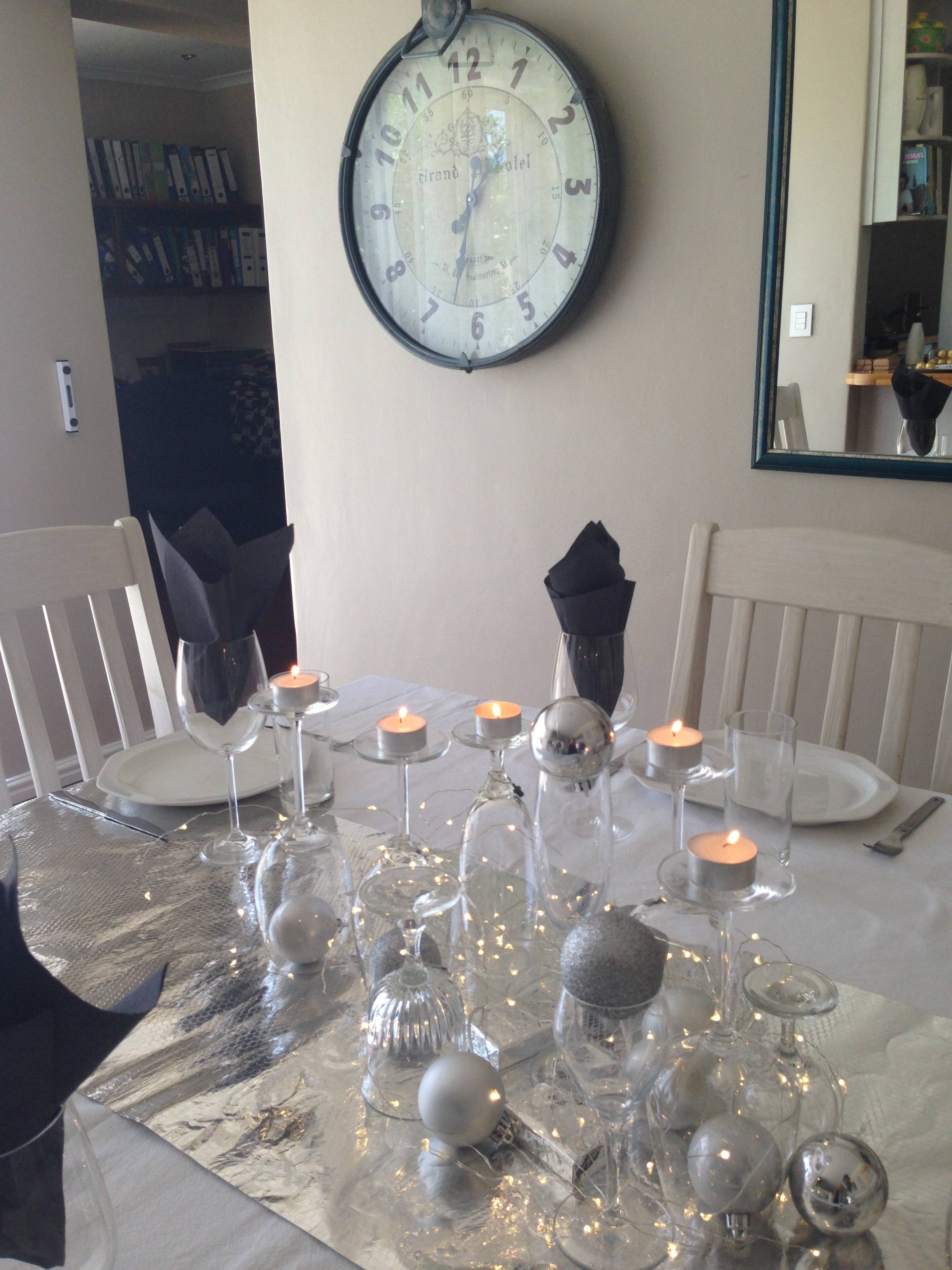 festive New Year's Eve Table setting using household items