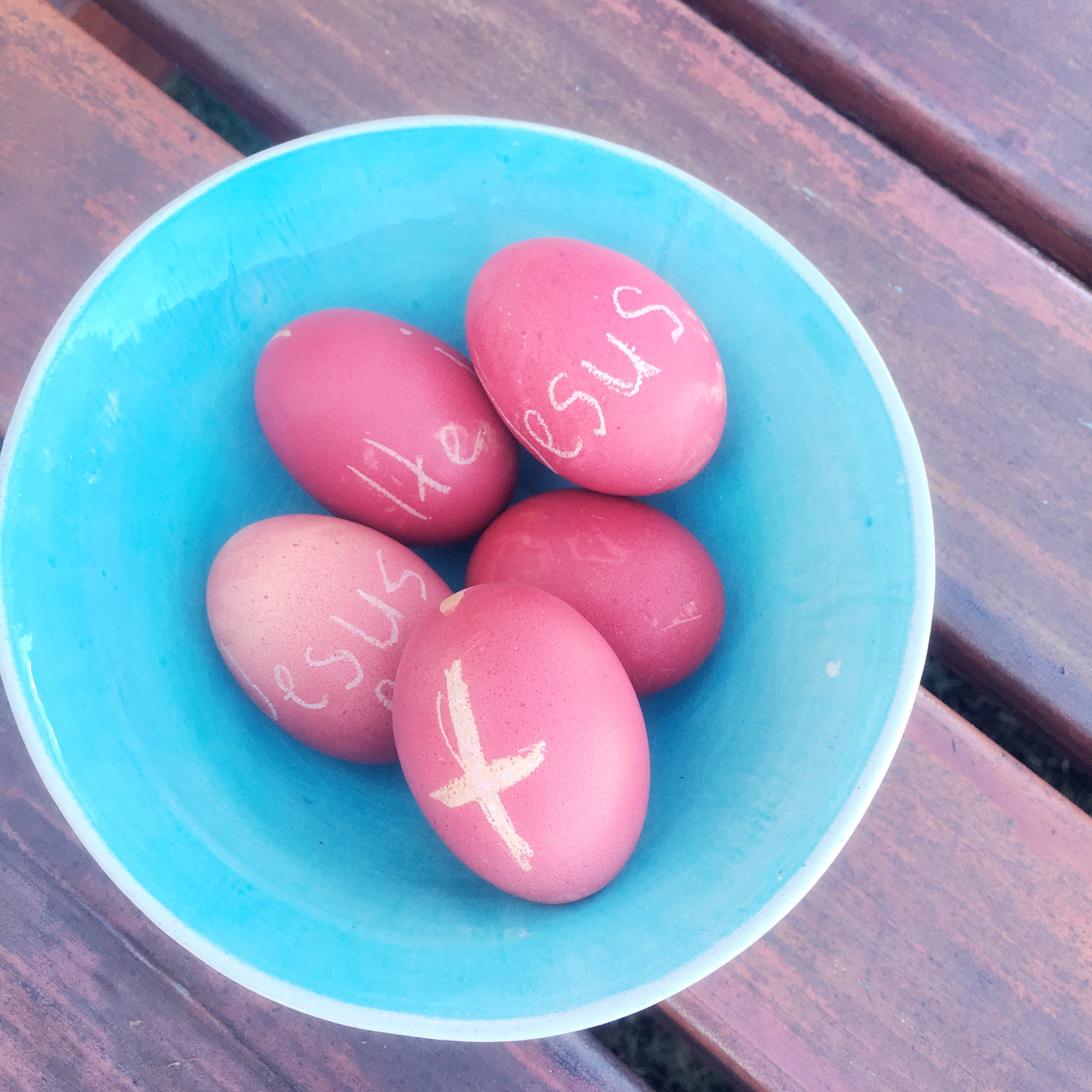 easter eggs with words