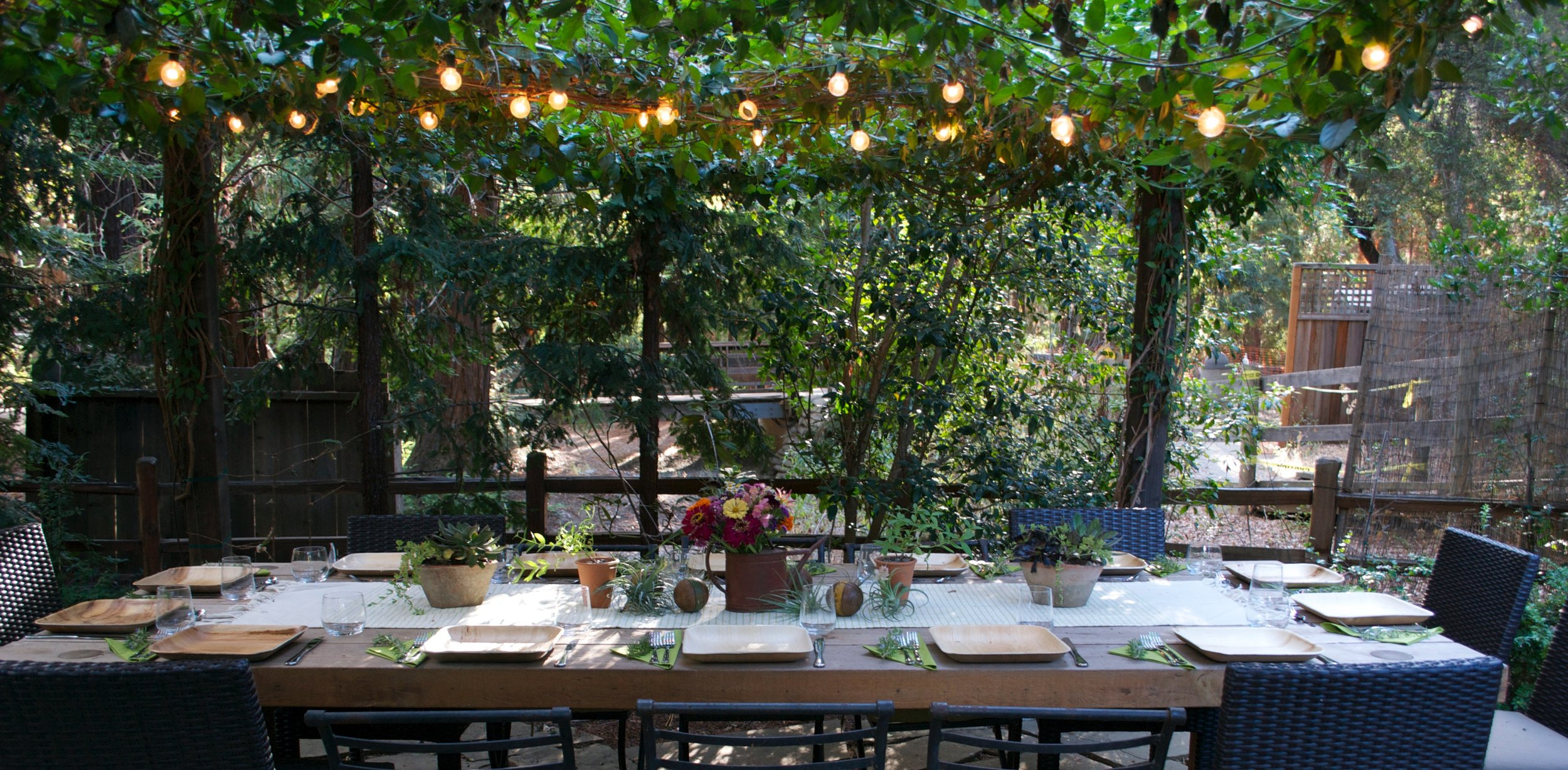 Table set in the garden