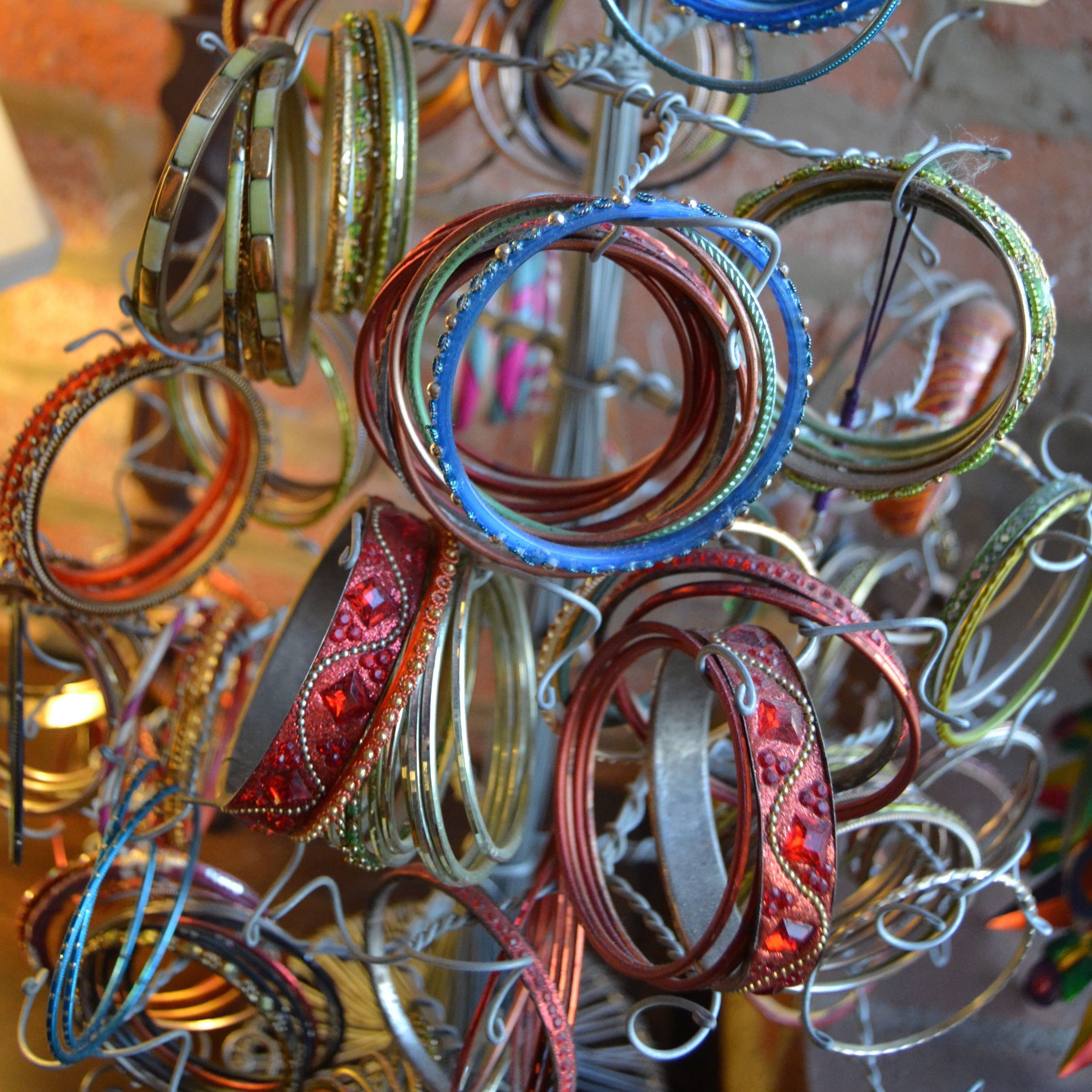 A collection of bangles from Karina's summer in India.