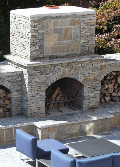 outdoor fireplace by Outdoor Kitchen Design Store by Preferred Properties in Cheshire, CT.