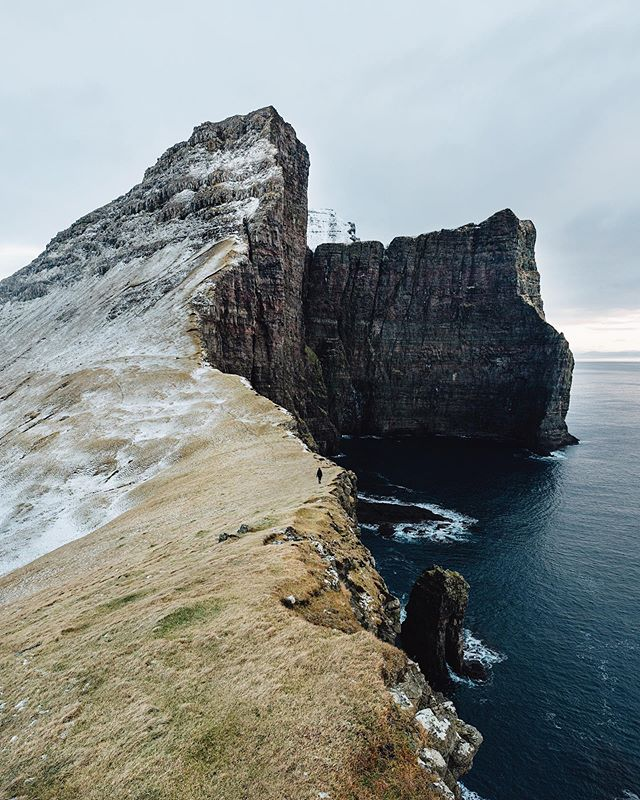 Faroe Islands. Last light before the 3 hour hike on goat paths and icy cliffs in the dark.