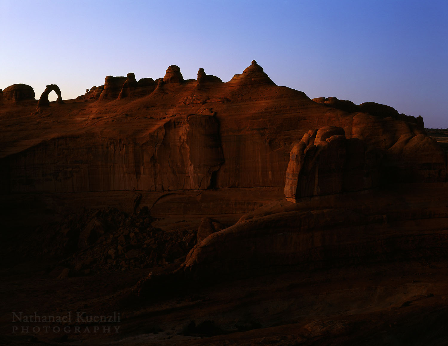 Delicate Arch at Dusk, Arches National Park, Utah, October 2003
