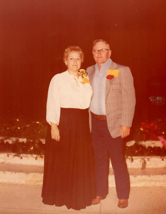 Dorothy Brinlee - 1979, Morgan City Auditorium, Industry Appreciation Night, Desk & Derek.jpg