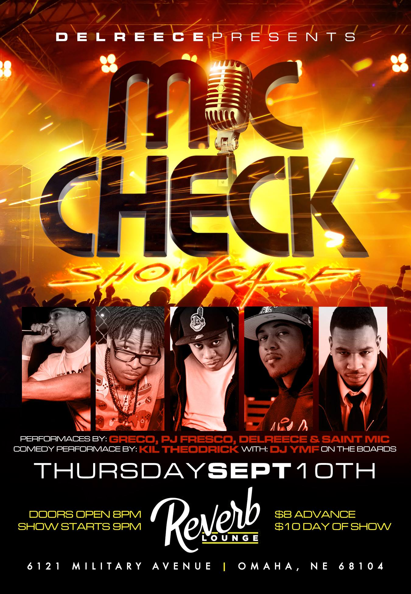 September 10, PJ Fresco performed as one of five emcees in the first 'Mic Check Showcase' in Omaha at the Reverb Lounge. This was Fresco's first public appearance.