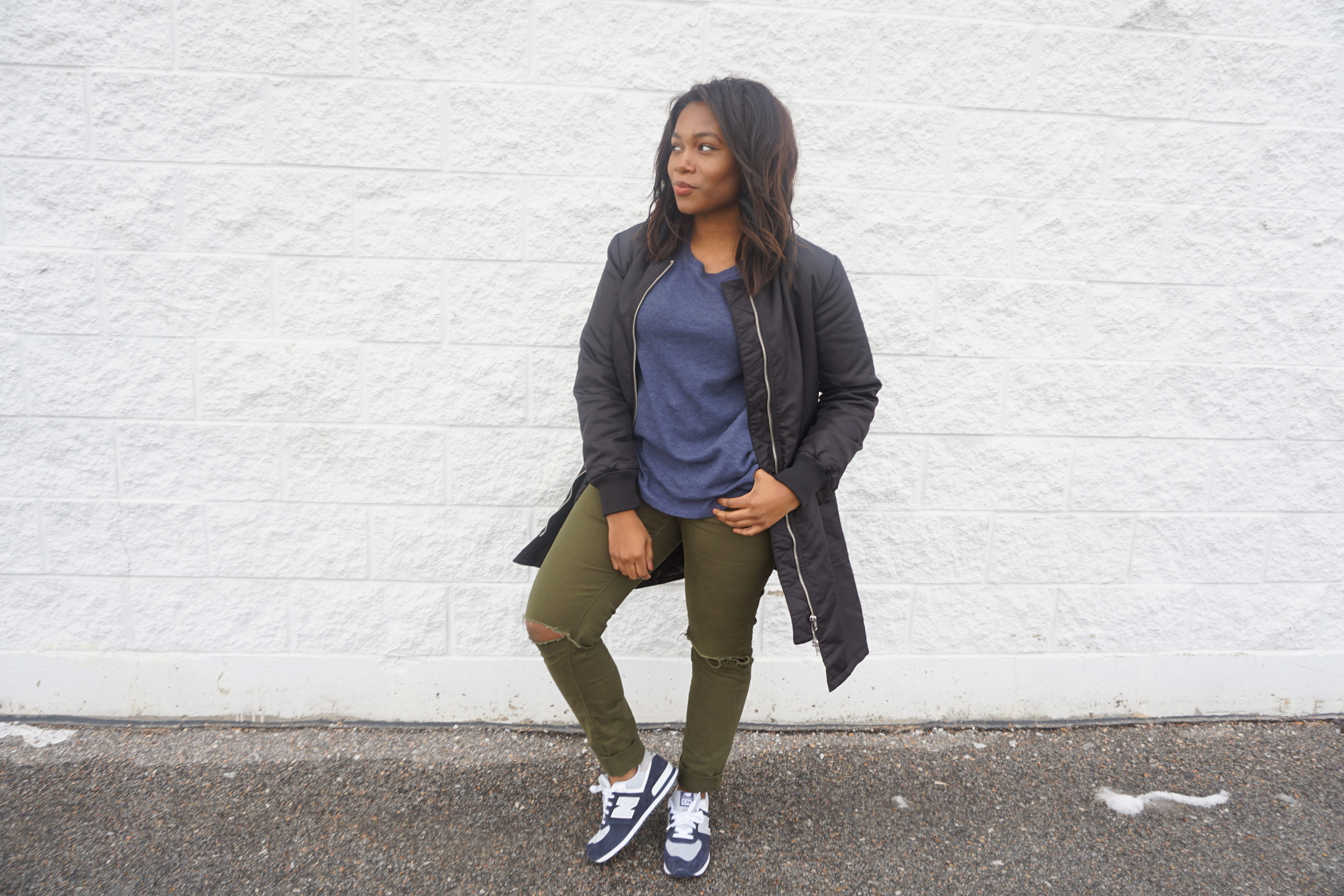 Knee'd Out Olive Jeans - $18.00