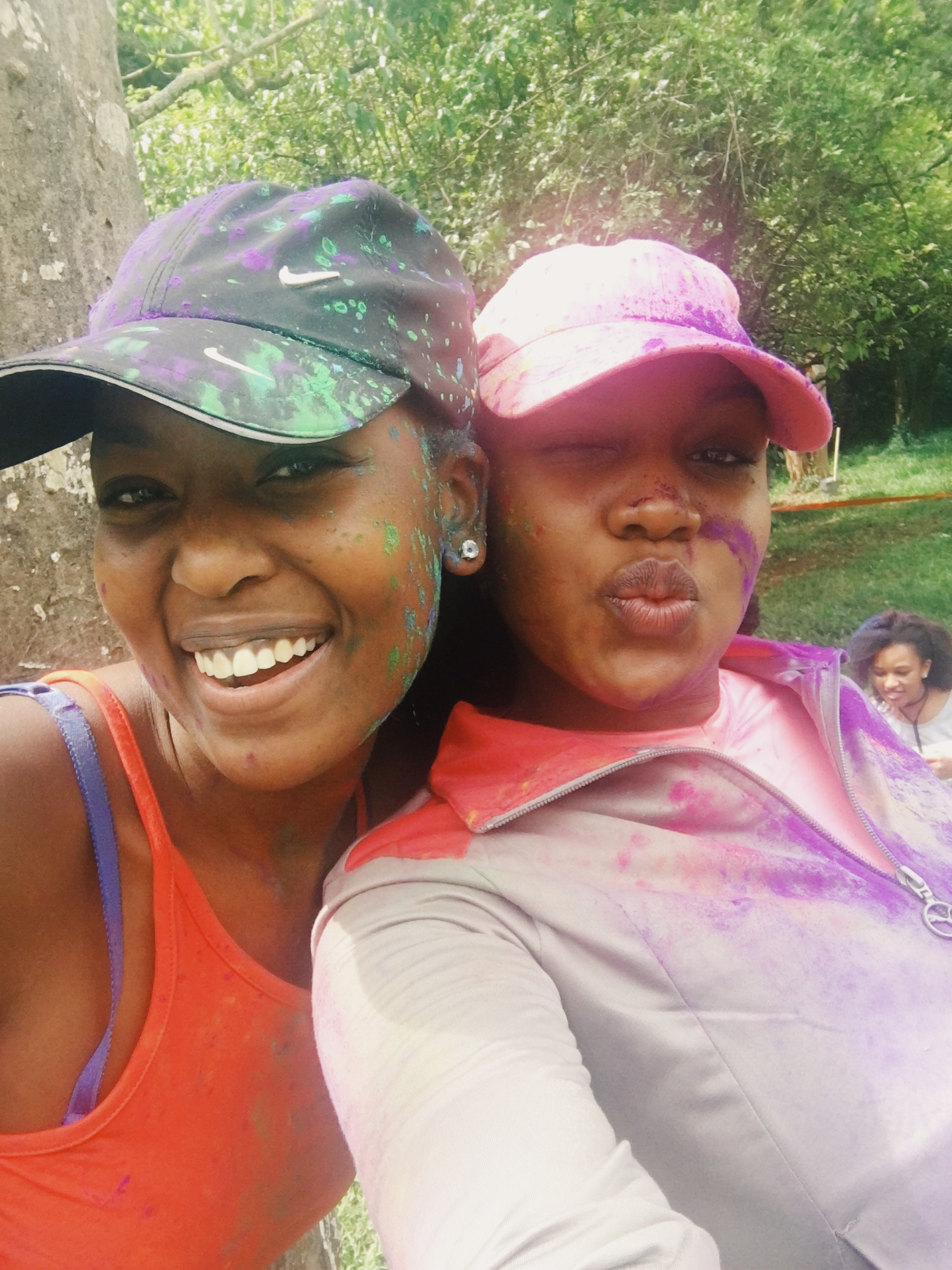 With Wambui during Paint The Run Kenya! Girrrrllll!! This was too much fun!