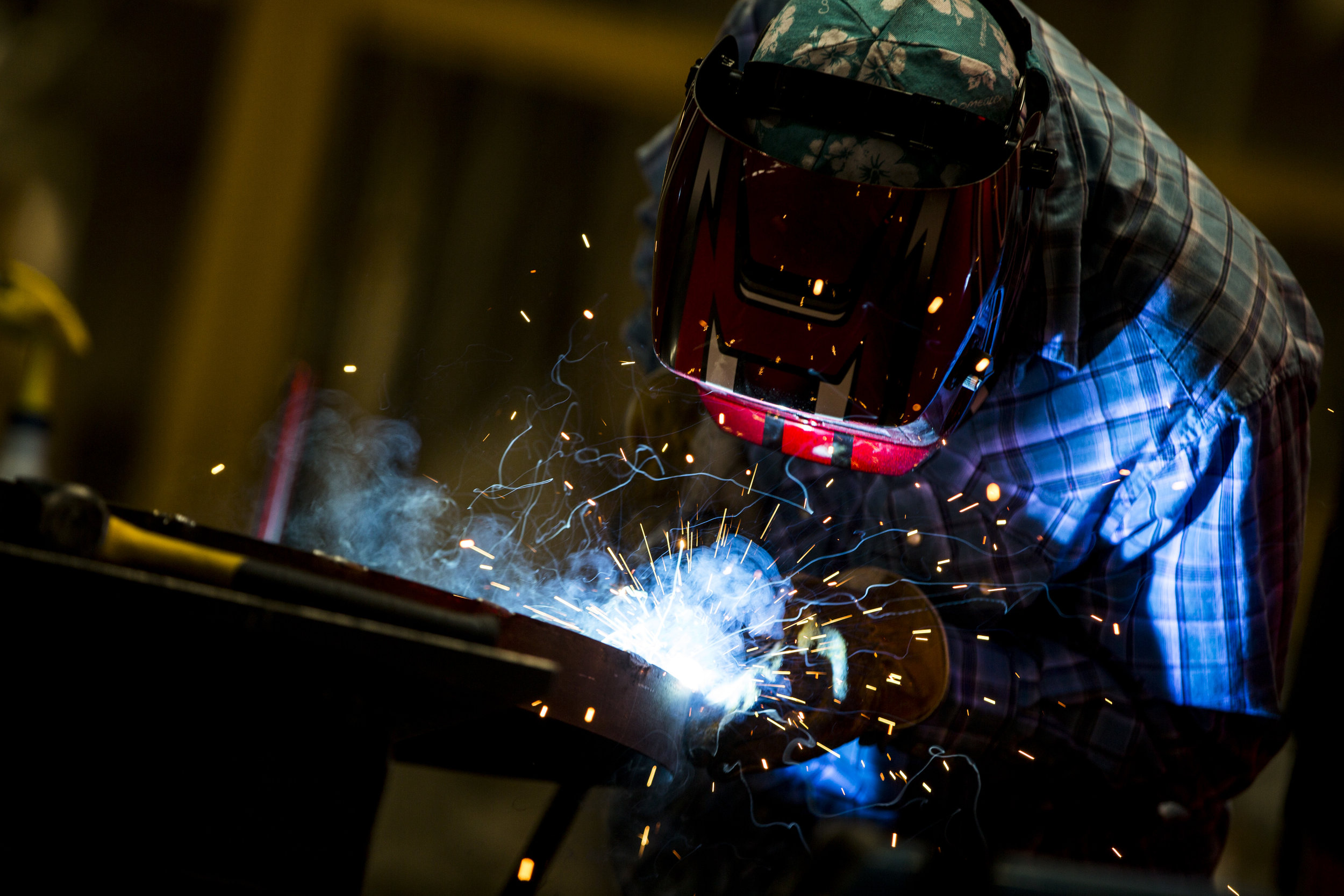 Ryan Bieman works on some welding at Gist Specialties, which makes custom wood and metal fabrications, in North Las Vegas on Wednesday, May 10, 2017. Patrick Connolly Las Vegas Review-Journal @PConnPie