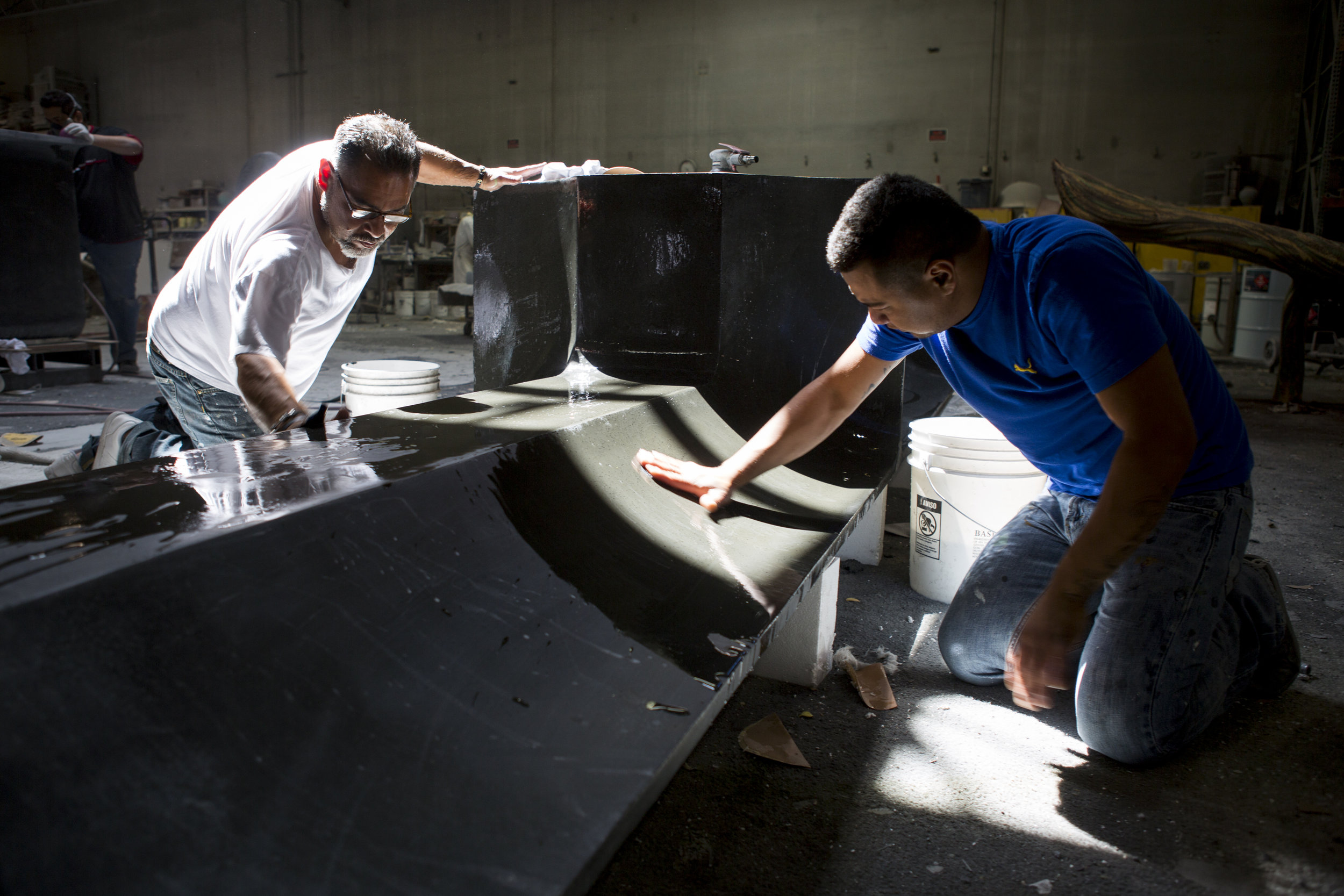 Oscar Perez-Casiano, right, and Carlos Barragan work on finishing a piece Gist Specialties, which makes custom wood and metal fabrications, in North Las Vegas on Wednesday, May 10, 2017. Patrick Connolly Las Vegas Review-Journal @PConnPie
