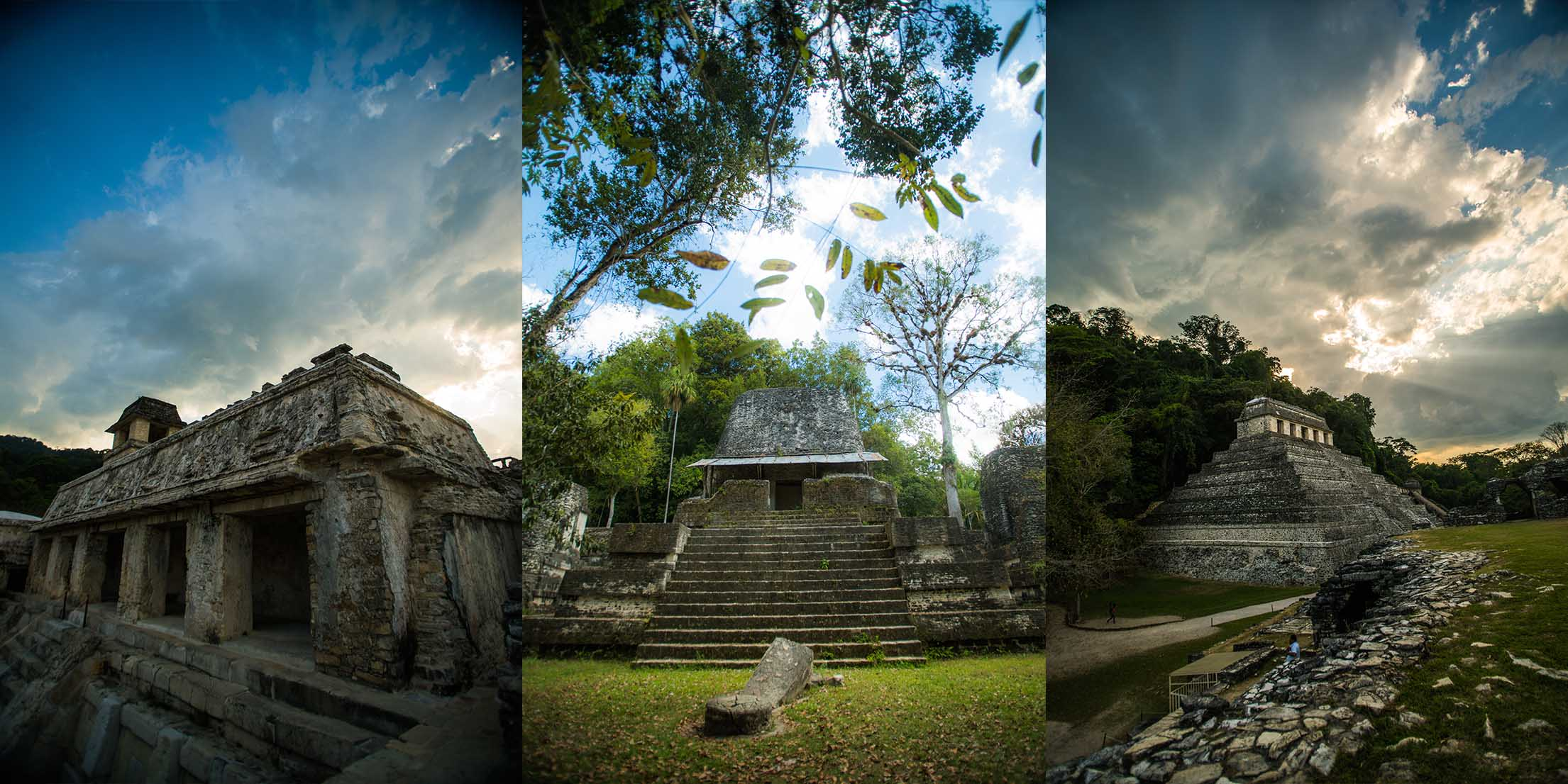 Left to right: Palenque, Chiapas. Tikal, Guatemala. Palenque, Chiapas.