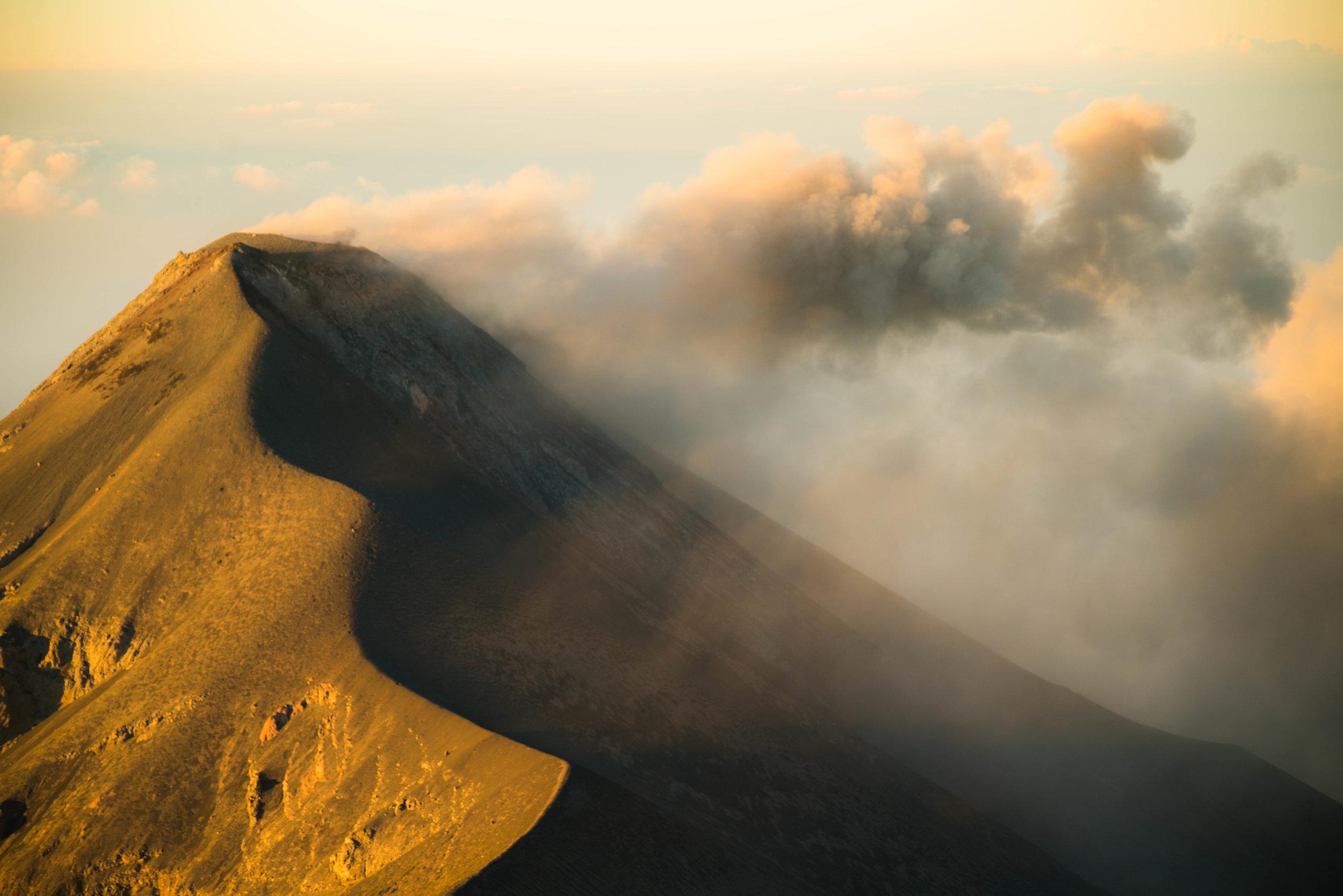 Volcan de Fuego erupting from Acatenango