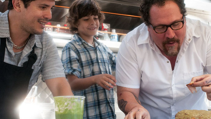 J ohn Leguizamo, Emjay Anthony, and Jon Favreau in Chef (Image © Open Road Films)