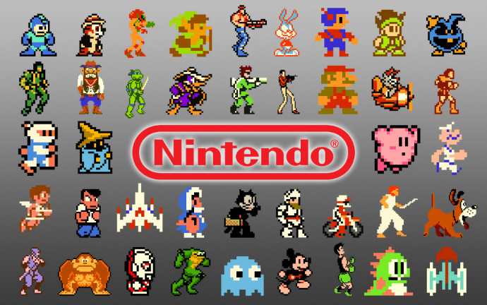 Of Nintendo's early characters, only one shown here (Samus Aran, top row, third from the left) was a woman.