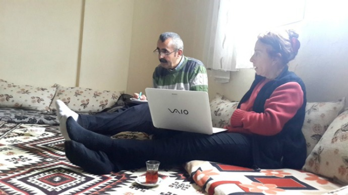 Hazim Cin and Amy Beam compiling list of 35 villages destroyed in 1990s in Beytüşşebap